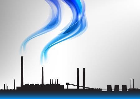 industria quimica: f�brica con el humo azul Vectores