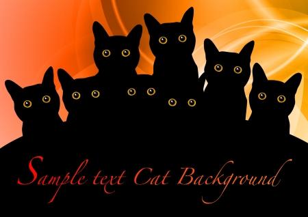 daemon: black cats on the orange background Illustration