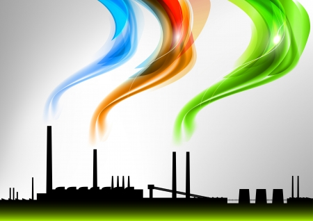 factory with the rainbow smoke Vector