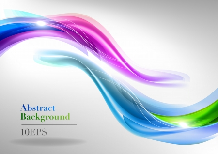 two abstact waves on the light background Vector