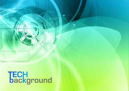 blue and green tech background Vector