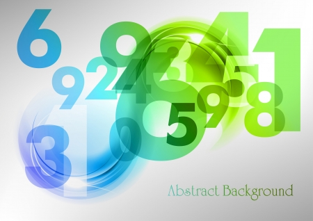 abstract background with blue and green numbers Stock Vector - 13841515