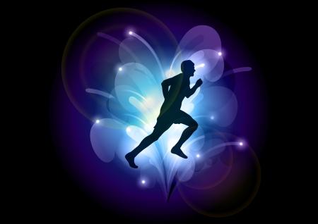 black silhouette of runner on the dark background Vector
