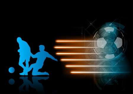 blue silhouett of soccer players with rays Vector