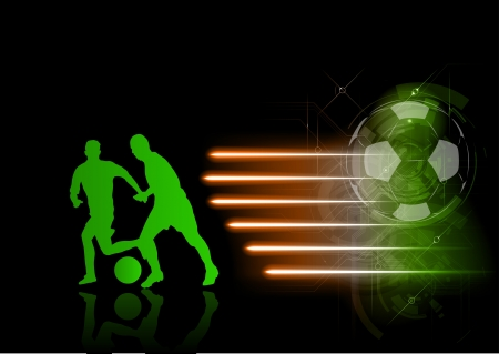 green silhouette of soccer players Vector