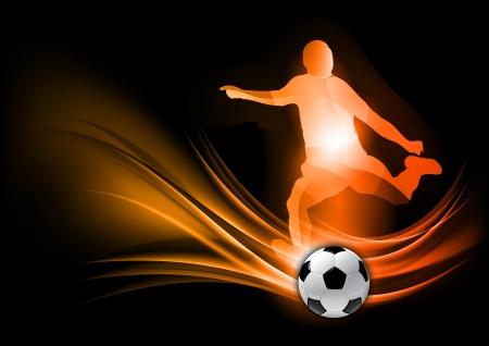jugador de futbol soccer: jugador de f�tbol en el fondo abstracto