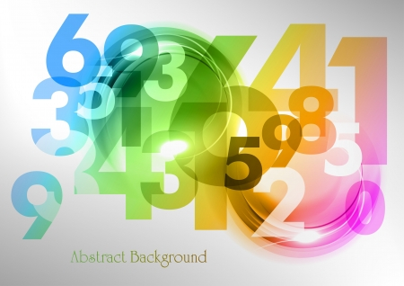 abstract background with rainbow numbers Vector