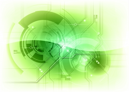 tech background in the green clolors Vector