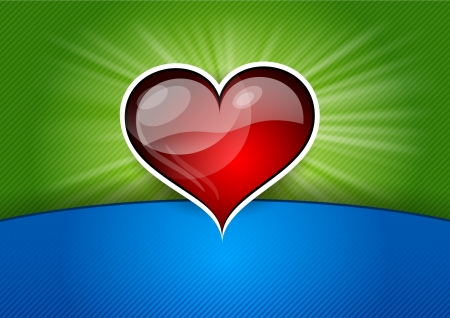 red shining heart on the green background Stock Vector - 17386323