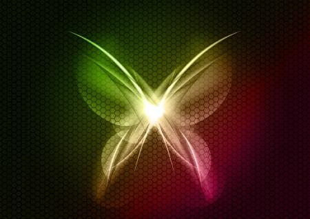 mariposa abstracta en el fondo oscuro Ilustración de vector