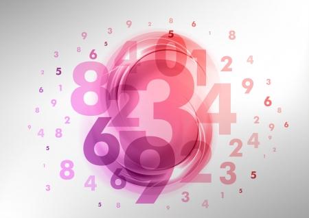 matematik: mor ve pembe numaraları ile arka plan Çizim
