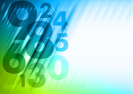 rekensommen: abstracte achtergrond met blauwe en groene nummers Stock Illustratie