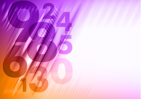 abstract background with orange and purple numbers Stock Vector - 19719978