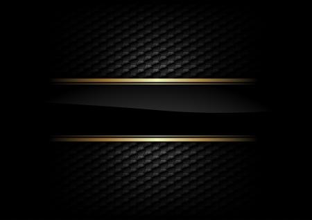 elegante: banda nera con bordo oro su sfondo scuro Vettoriali