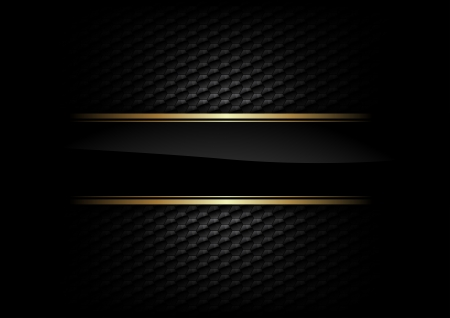black stripe with gold border on the dark background Vector