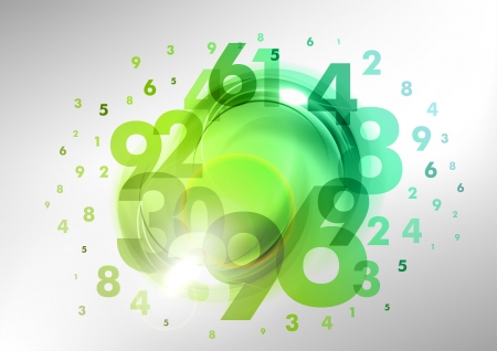 numbers abstract: green numbers group on the abstract background