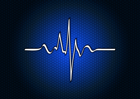 blue background with pulse curve Vector