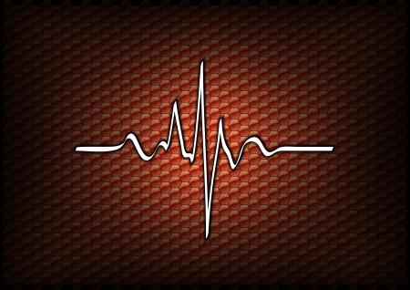 cardio: orange background with cardio line Illustration