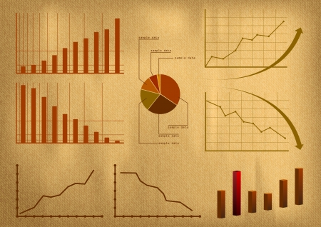 business graphs on the old background Vector