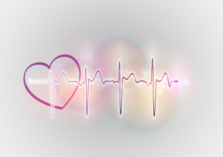 stress test: cardiogram with the heart on the background
