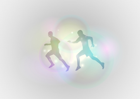 silhouettes of runner on the background Vector