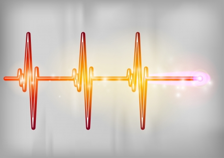 cardiograph: red cardiogram on the grey background Illustration
