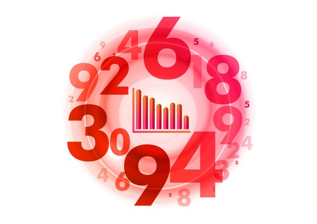 small graph down in the red circle Stock Vector - 21020643