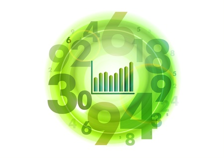 stock illustration: small graph in the middle of numbers circle Illustration