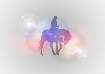 vector silhouette of ridding horse