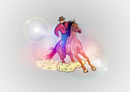 horseback riding: western horse on the abstract background Illustration