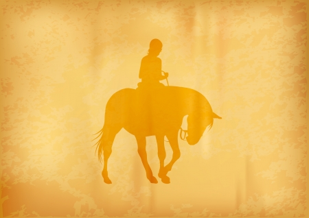 yellow silhouette of ridding horse Vector