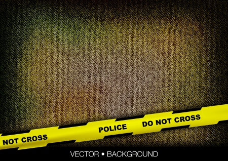 yellow police tape over coarse texture Vector