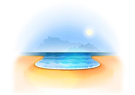 ocean view: summer beach with white frame