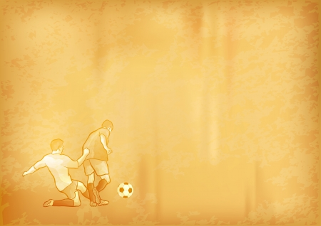 goal kick: old paper background with soccer symbol Illustration