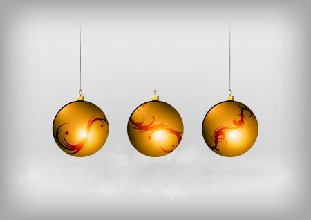 christmass: tres bolas de los christmass naranja Vectores