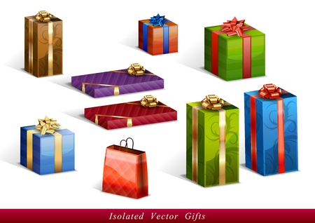 christmas presents: set of vector isolated gifts Illustration