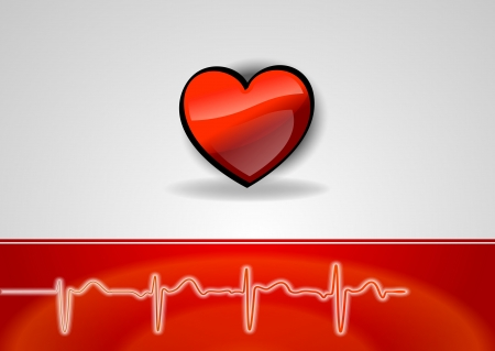 heart rate: heart on the grea background with the cardio curve