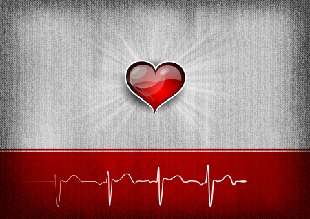 heart on the grey background with red cardio curve Vector