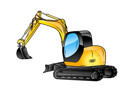 heavy: excavator isolated on the white background Illustration