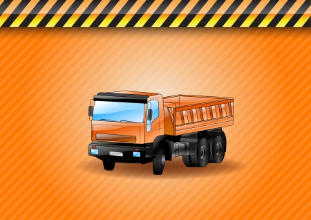 truck on the orange background Stock Vector - 21787329