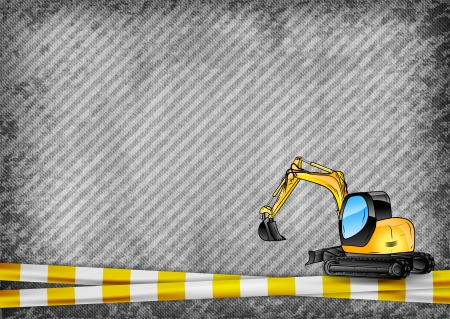 mining machinery: yellow tape and excavator on the grey texture