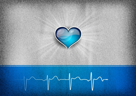 cardiogram: blue heart on the grey background