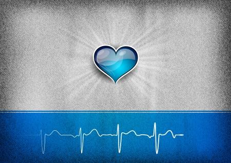corazón azul en el fondo gris