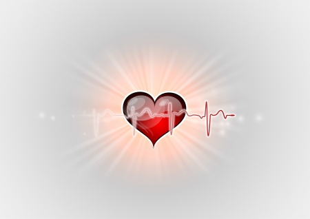 red heart with cardio curve Vector