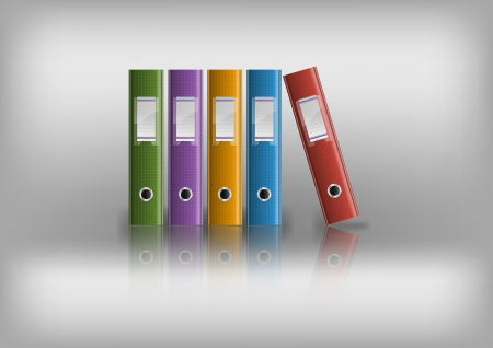 stack of files: office files on the grey background Illustration