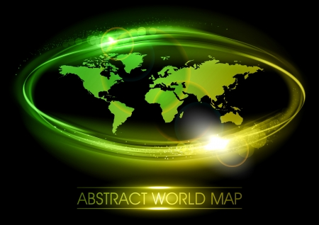 abstract world map in the elipse Vector