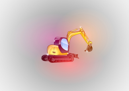 sparkle excavator on the crazy background Stock Vector - 21928088