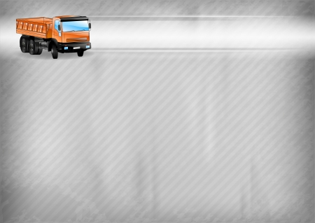truck on the abstract construction background Vector