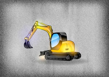 dredge to dig: excavator on the grey background Illustration
