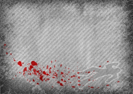 grey texture with red splatter ans silhouette of murder Vector